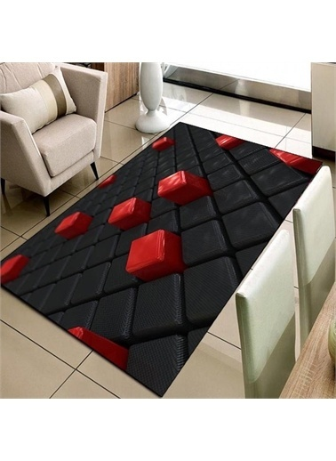Halı Kırmızı Siyah Kutular 3D Modern  3D Salon Halıları 80X150Cm Renkli